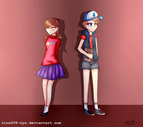 Gravity Falls (anime) - Dipper and Mabel by sina008-nya