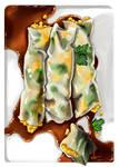 Salmon and egg rice wraps