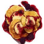 Blackberry jam on apple pancakes