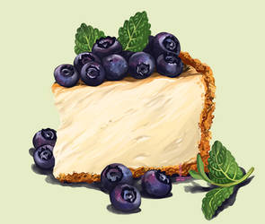 Cheesecake with blueberries by DesigningLua