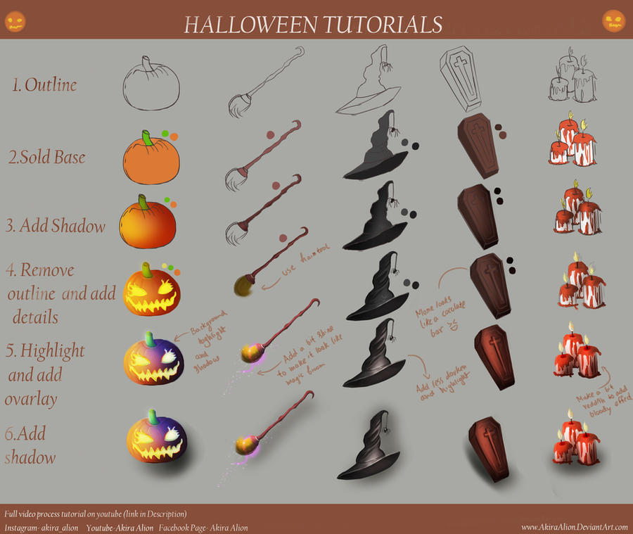 Halloween digital art tutorial step by step by for Step by step painting tutorial