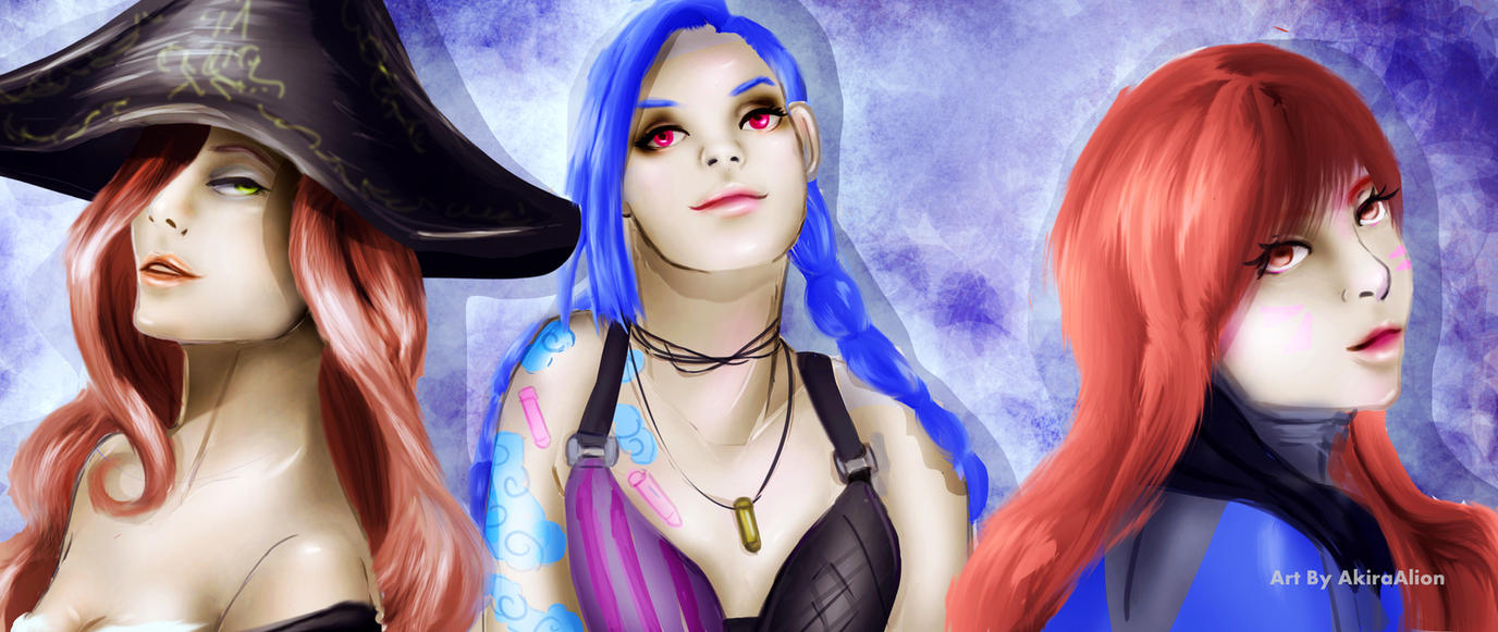 Banner-Miss Fortune/Jinx/D.va (Free To Use) by AkiraAlion