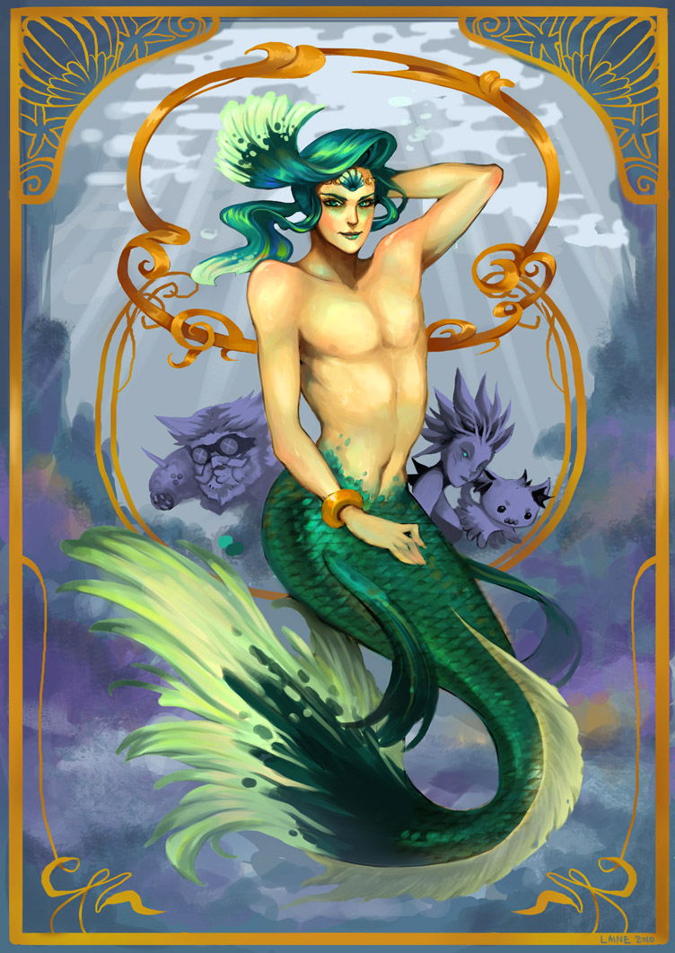 Prince_enki_by_derlaine8 (752×1062) | Mermaid Garden Decor | Pinterest  | Mermaid