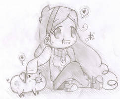 .: Mabel and Waddles Sketch :. by ruuiisu