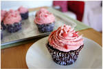 Chocolate Cupcakes with Strawberry Buttercream II