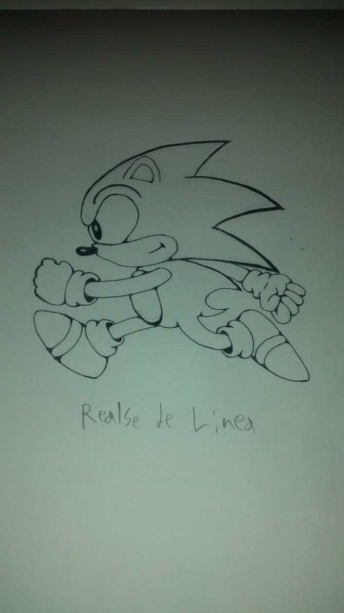 Classic Sonic running (line enhancement) by Liyito