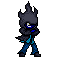 Blue Flame 16 bit sprite (hood on) by Liyito