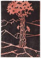 Woodcut print by Astalo