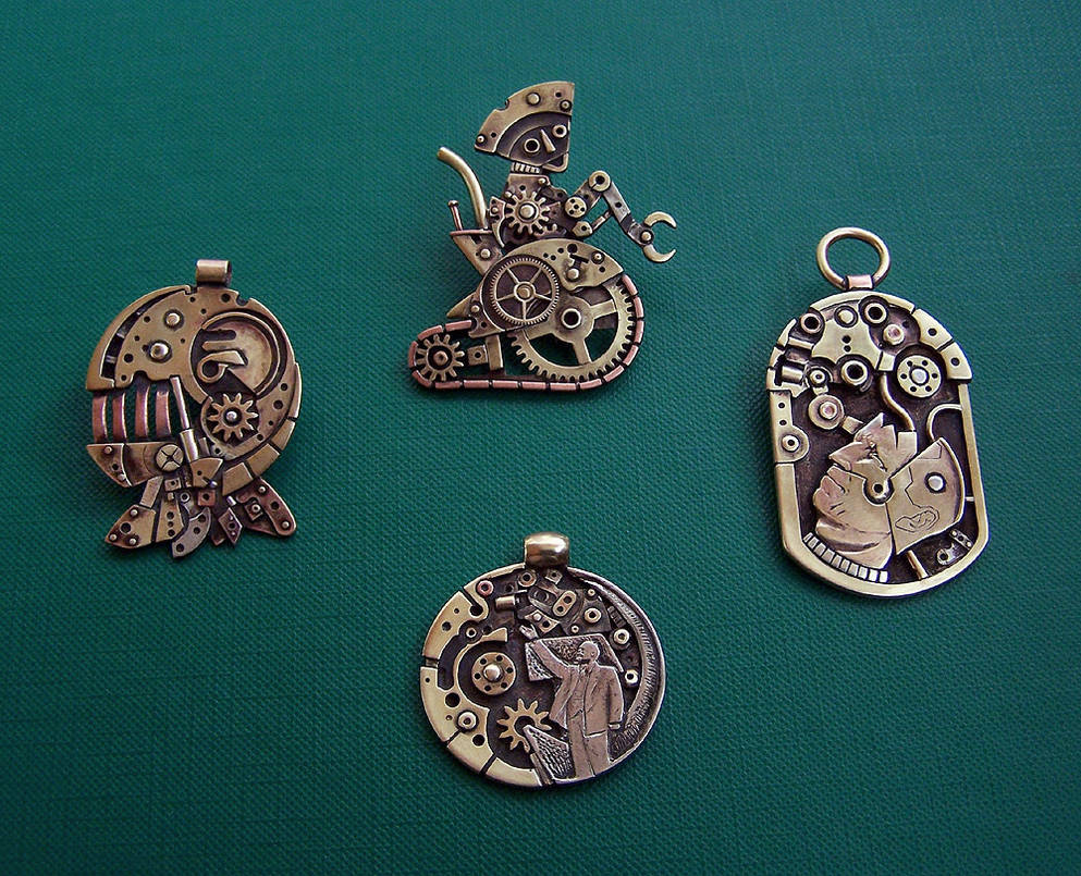 Clockpunk pendants 6