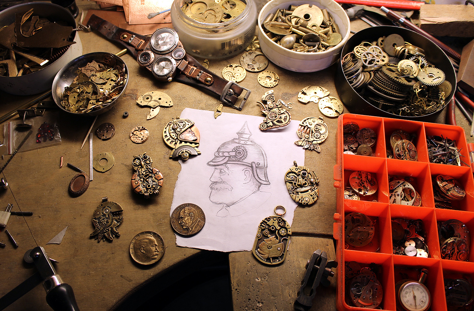 Steampunk jeweler's workbench