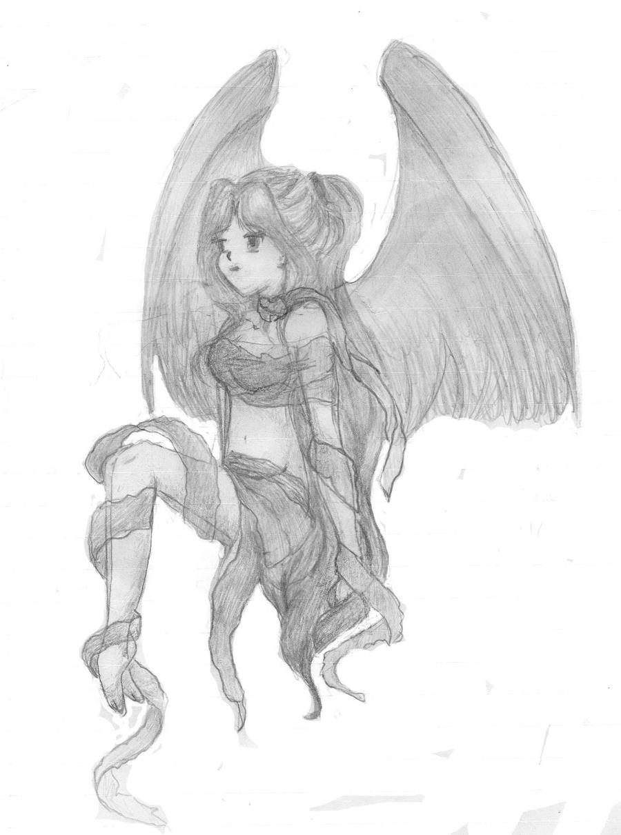 Anime Angel Sketch By Bsdancer31