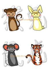 CZ- Monkey, Rabbit, Rat, Tiger by crazystar