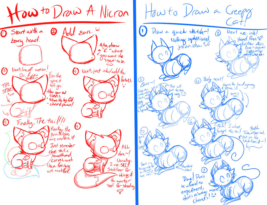 Scribble Drawing Tutorial : A feline drawing tutorial by flamesvoices on deviantart