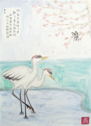 cranes, swallows and blossoms