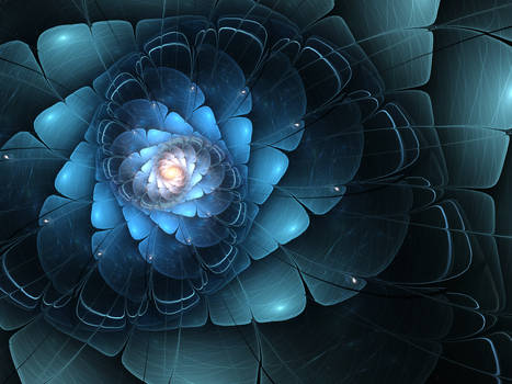 Dark Blue Fractal Flower