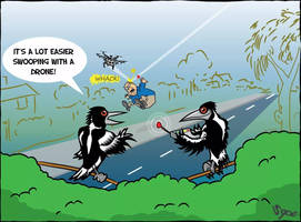 Swooping with a drone  by Sopecartoons