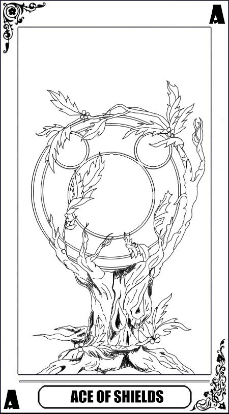 KH Tarot: Ace of Shields (lineart) by way2thedawn