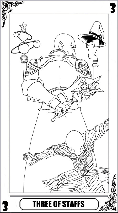 KH Tarot: Three of Staffs (lineart) by way2thedawn