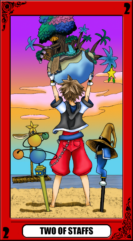 KH Tarot: Two of Staffs by way2thedawn