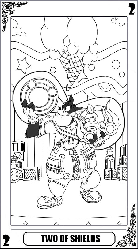 KH Tarot: Two of Shields (Lineart) by way2thedawn