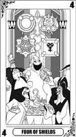 KH Tarot: Four of Shields (Lineart)