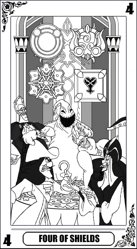 KH Tarot: Four of Shields (Lineart) by way2thedawn