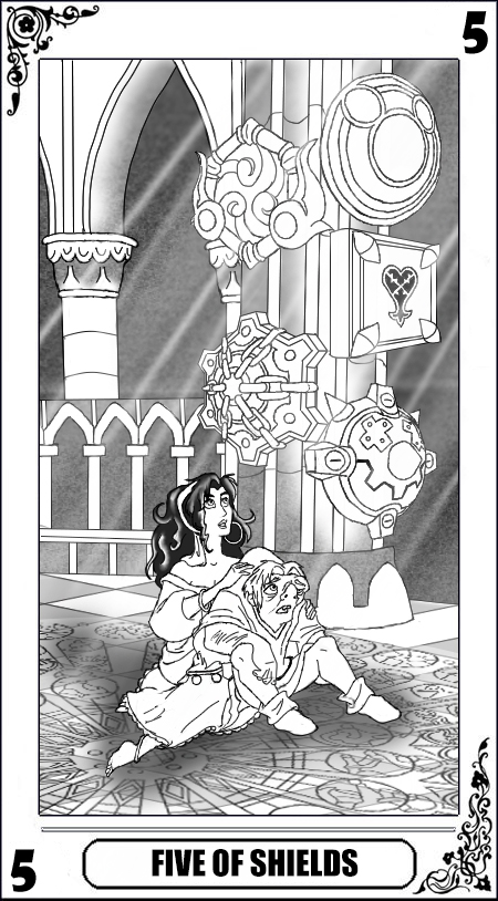 KH Tarot: Five of Shields (Lineart) by way2thedawn
