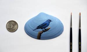 Indigo Bunting Shell Painting