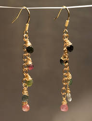 Gold Tourmaline Dangles by SoulStoneDesigns