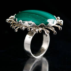 Malachite Flower Ring by SoulStoneDesigns