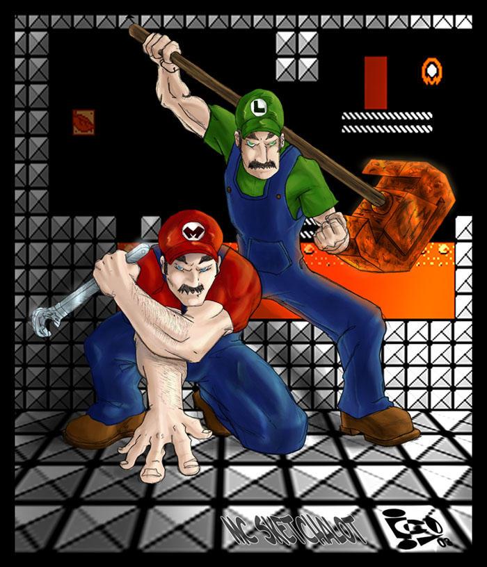 Mario Bros - By Mc Sketchalot by icoman