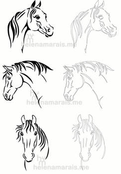 Horses Line art