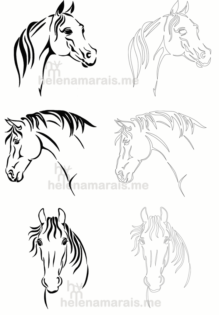 Horses Line art by Anuden