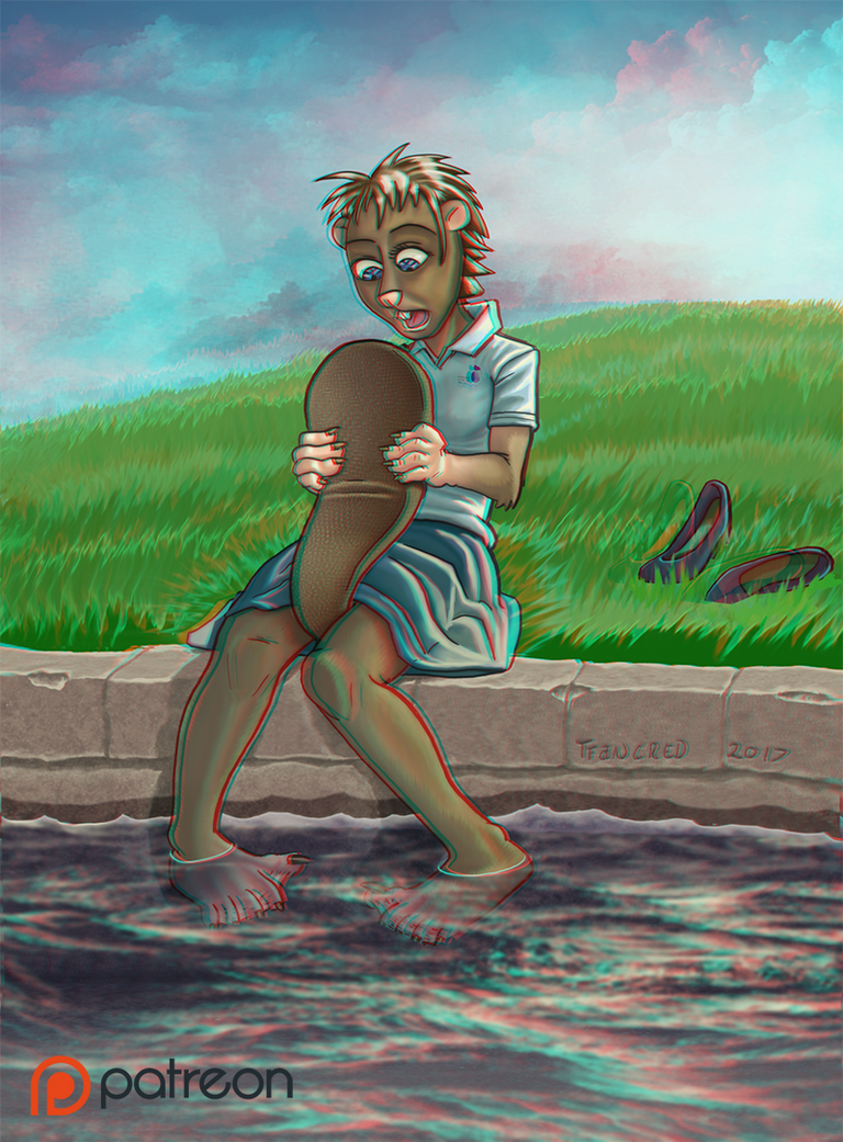 B for Beaver - Patreon image (Anaglyphe)