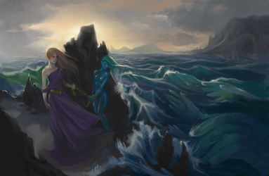 Juno offering chained nymph to the god of Sea by Mjusi