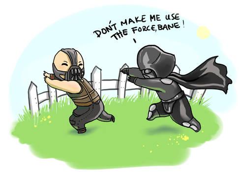 Darth Vader and Bane playing tag