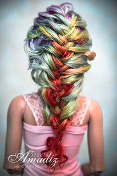 Rainbow braid back