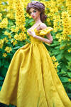 Empire yellow cold shoulder maxi dress