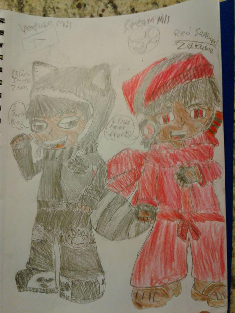 Black Tanooki and Red Samurai  by SlyZeke101