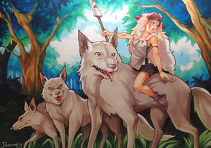 Mononoke and her wolves