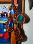 leather and agates pendants