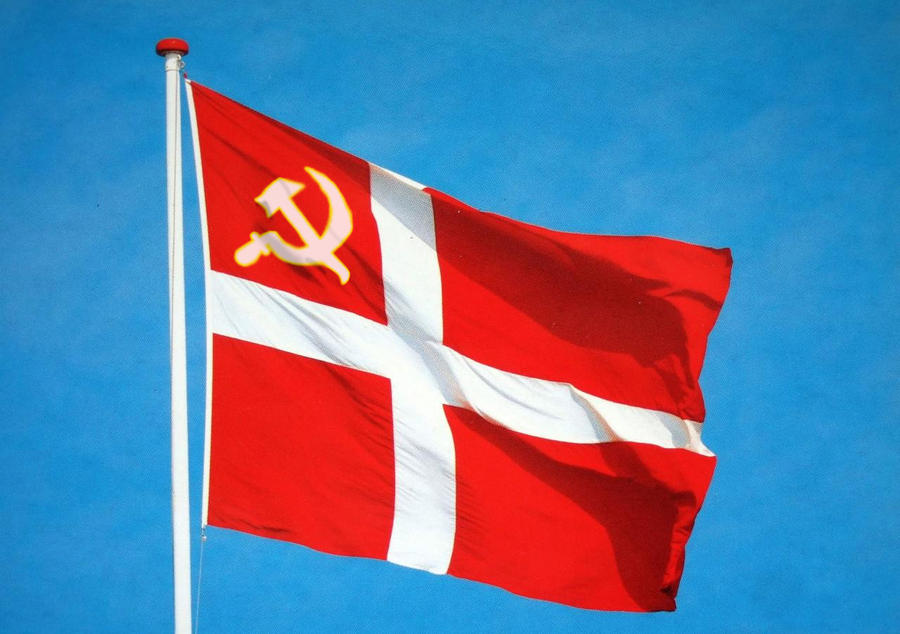 communist danish flag waving in the wind by union6 on