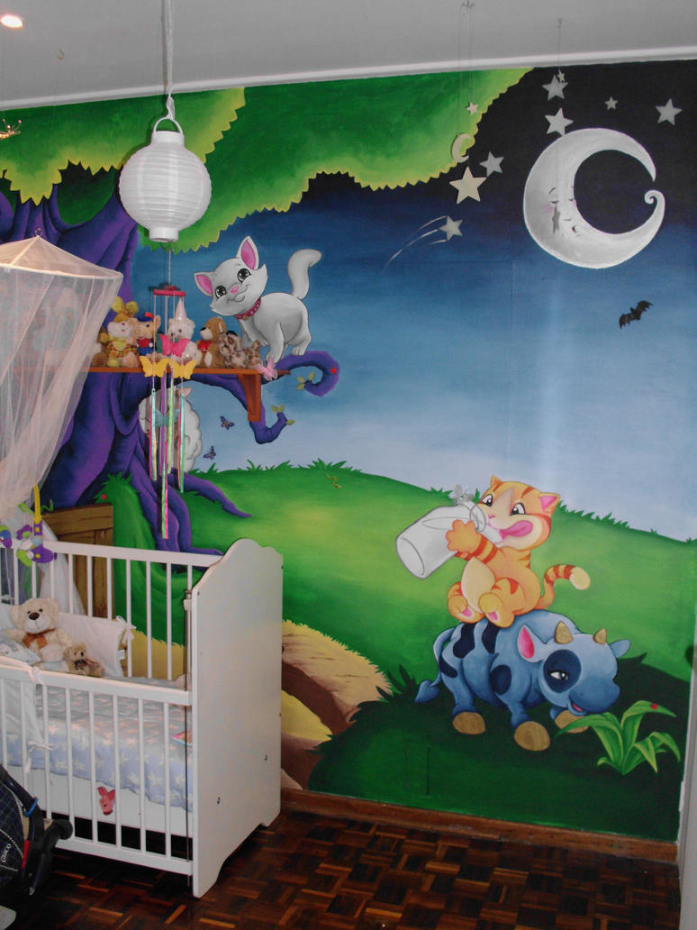 Baby room wall mural final by justinmain on deviantart for Baby nursery wall mural