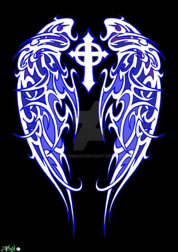 tribal angel wings blue by justinmain on deviantart