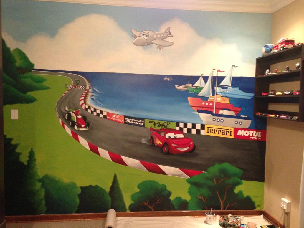Disney carz wall mural by justinmain on deviantart for Disney wall mural