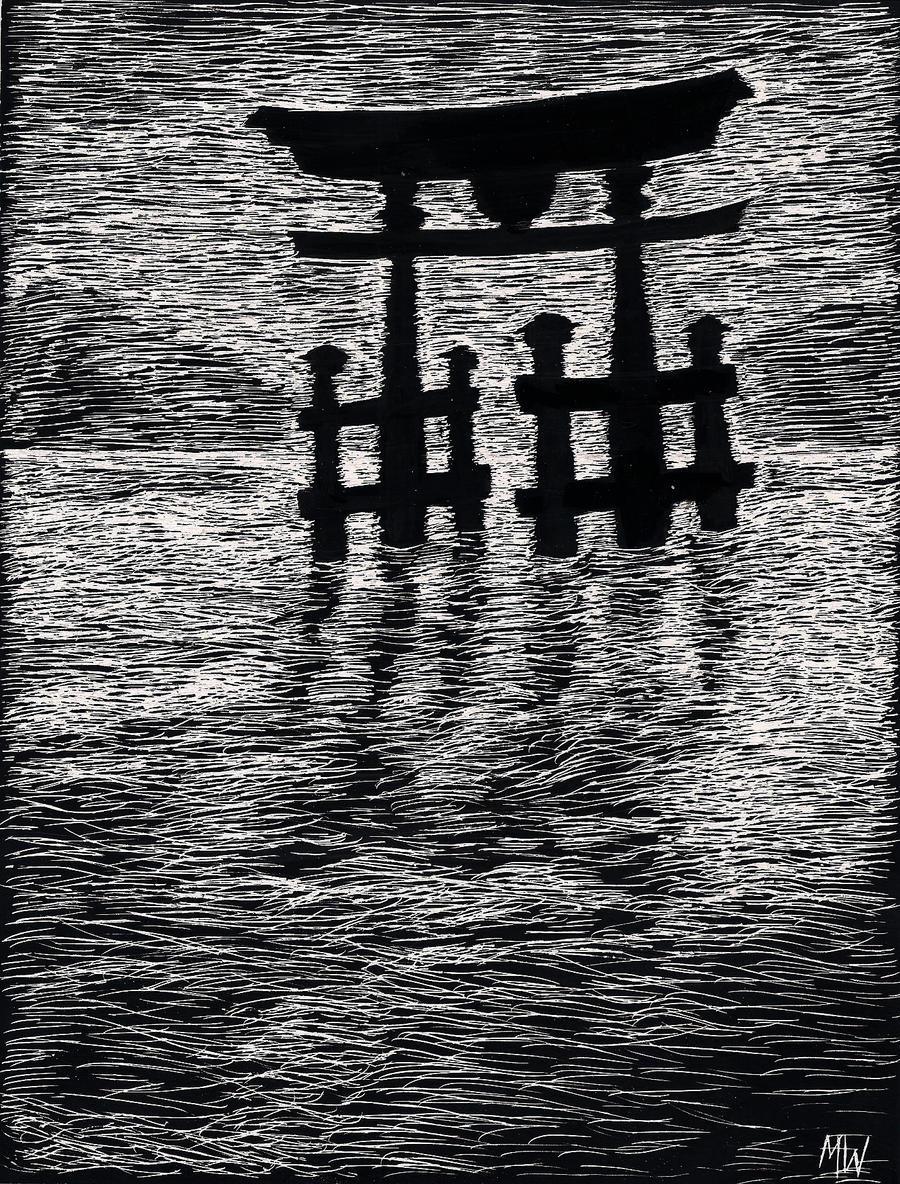 Scratchboard Art Japanese Water Gateway By Yuilhan