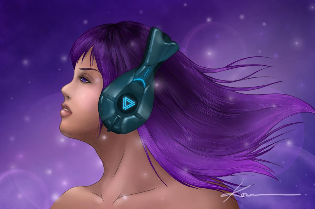 Girl With Headphone by Ahko0N