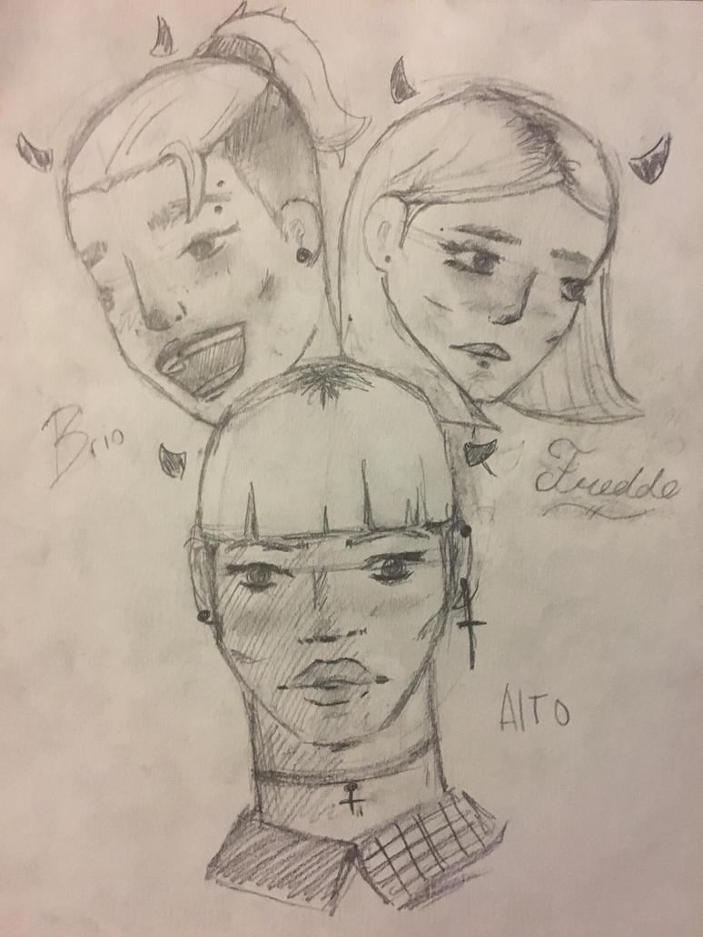 Bored Sketch : Alto, Brio, And Freddo (Onigers) by Sentaibrave