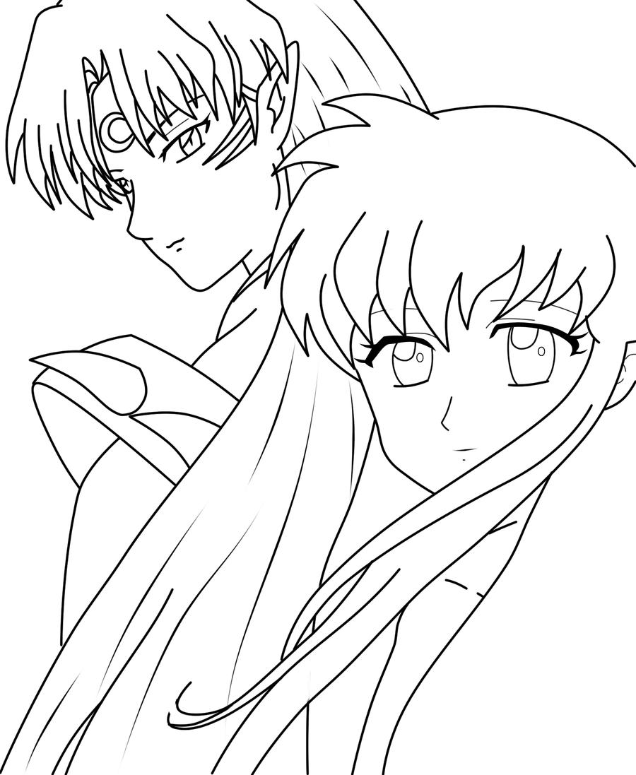 Sesshomaru And Kagome LineArt By DarkAngelOfSilence