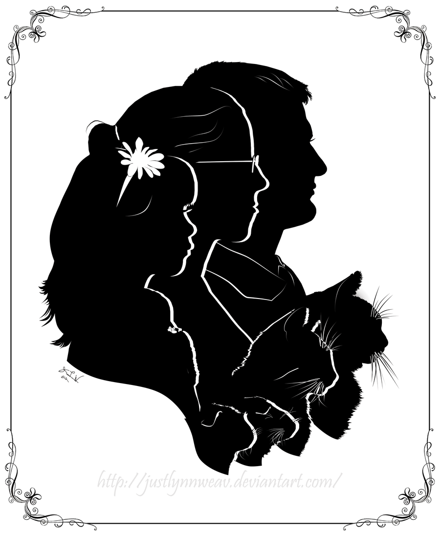 my family silhouette portrait 2012 by JustLynnWeav